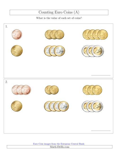 The Counting Small Collections of Euro Coins Sorted Version (No 1 or 2 Cents) (A) Math Worksheet