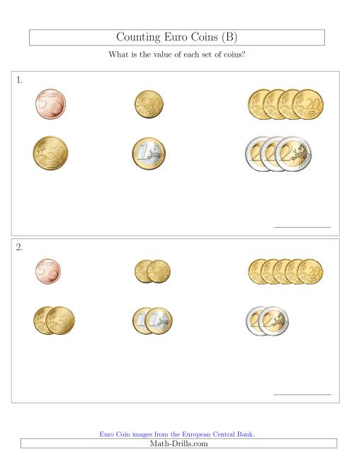 The Counting Small Collections of Euro Coins Sorted Version (No 1 or 2 Cents) (B) Math Worksheet