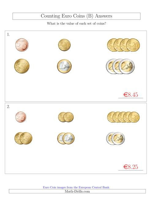The Counting Small Collections of Euro Coins Sorted Version (No 1 or 2 Cents) (B) Math Worksheet Page 2