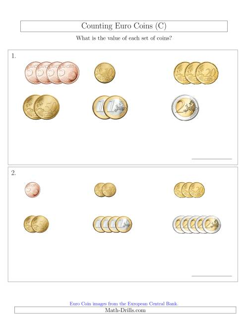 The Counting Small Collections of Euro Coins Sorted Version (No 1 or 2 Cents) (C) Math Worksheet