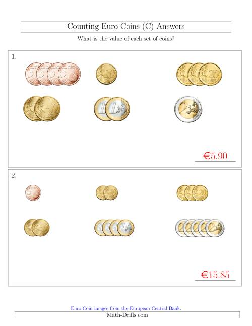 The Counting Small Collections of Euro Coins Sorted Version (No 1 or 2 Cents) (C) Math Worksheet Page 2
