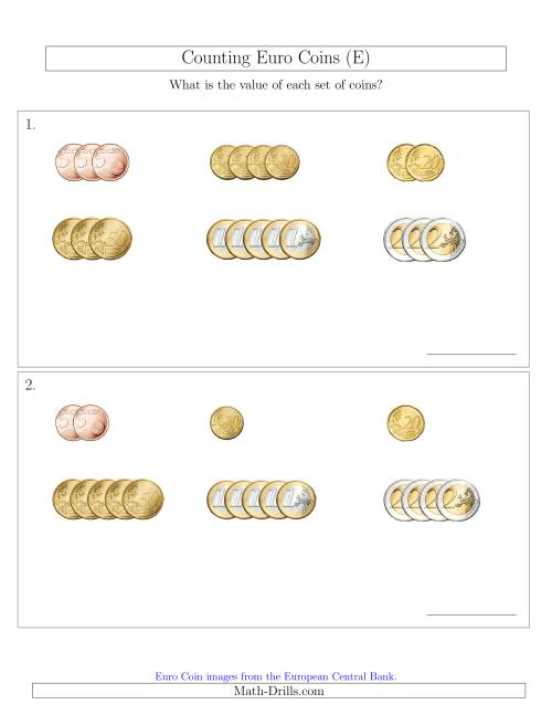 The Counting Small Collections of Euro Coins Sorted Version (No 1 or 2 Cents) (E) Math Worksheet