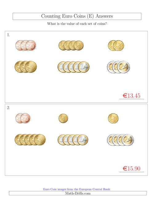 The Counting Small Collections of Euro Coins Sorted Version (No 1 or 2 Cents) (E) Math Worksheet Page 2