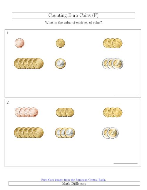 The Counting Small Collections of Euro Coins Sorted Version (No 1 or 2 Cents) (F) Math Worksheet