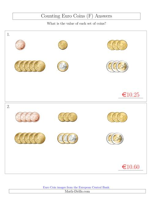 The Counting Small Collections of Euro Coins Sorted Version (No 1 or 2 Cents) (F) Math Worksheet Page 2
