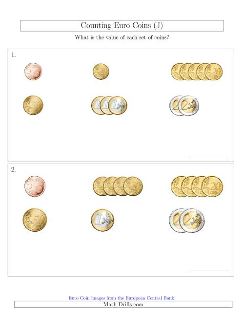 The Counting Small Collections of Euro Coins Sorted Version (No 1 or 2 Cents) (J) Math Worksheet