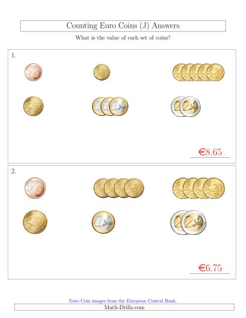 The Counting Small Collections of Euro Coins Sorted Version (No 1 or 2 Cents) (J) Math Worksheet Page 2