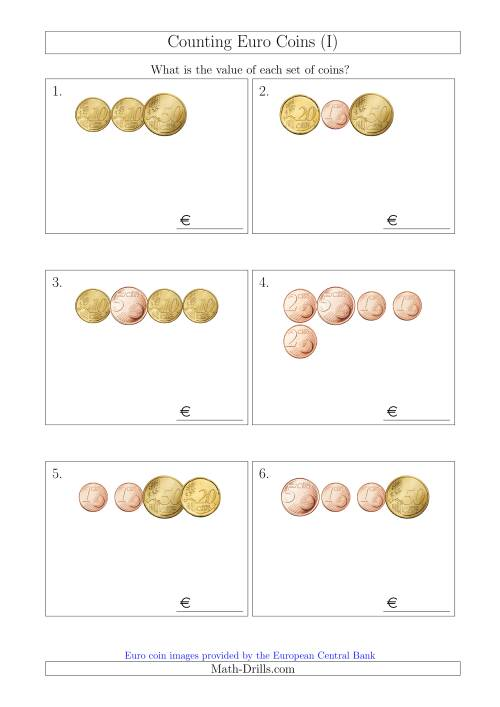 The Counting Small Collections of Euro Coins Without 1 or 2 Euro Coins (I) Math Worksheet