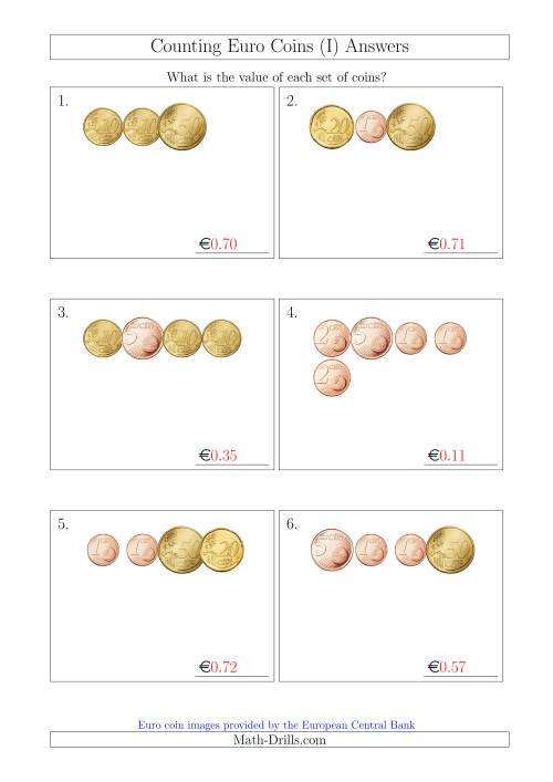 The Counting Small Collections of Euro Coins Without 1 or 2 Euro Coins (I) Math Worksheet Page 2
