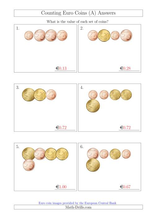 The Counting Small Collections of Euro Coins Without 1 or 2 Euro Coins (All) Math Worksheet Page 2