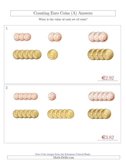 The Counting Small Collections of Euro Coins Sorted Version (No 1 or 2 Euro Coins) (A) Math Worksheet Page 2
