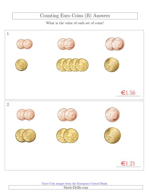 The Counting Small Collections of Euro Coins Sorted Version (No 1 or 2 Euro Coins) (B) Math Worksheet Page 2