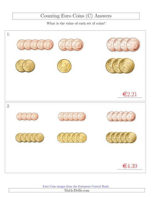 The Counting Small Collections of Euro Coins Sorted Version (No 1 or 2 Euro Coins) (C) Math Worksheet Page 2
