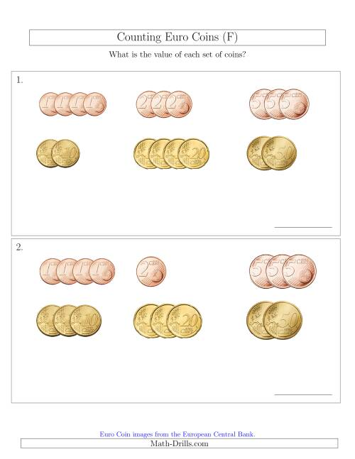The Counting Small Collections of Euro Coins Sorted Version (No 1 or 2 Euro Coins) (F) Math Worksheet