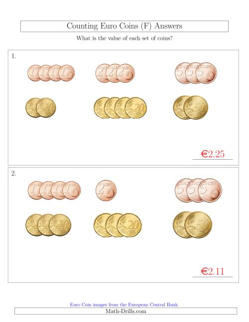 The Counting Small Collections of Euro Coins Sorted Version (No 1 or 2 Euro Coins) (F) Math Worksheet Page 2