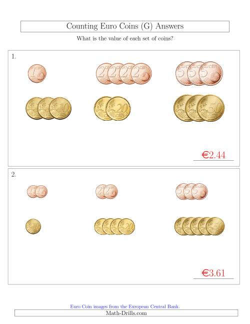 The Counting Small Collections of Euro Coins Sorted Version (No 1 or 2 Euro Coins) (G) Math Worksheet Page 2