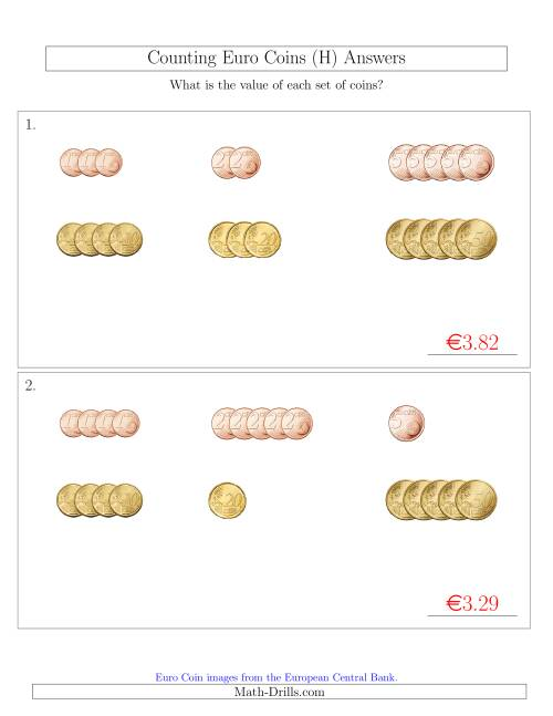 The Counting Small Collections of Euro Coins Sorted Version (No 1 or 2 Euro Coins) (H) Math Worksheet Page 2