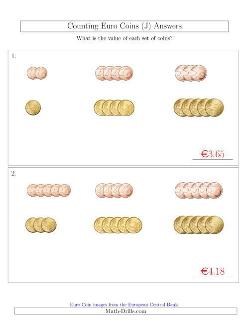 The Counting Small Collections of Euro Coins Sorted Version (No 1 or 2 Euro Coins) (J) Math Worksheet Page 2