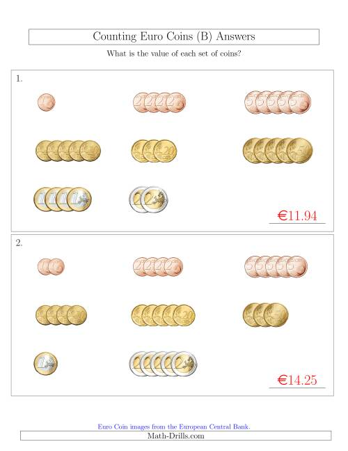 The Counting Small Collections of Euro Coins Sorted Version (B) Math Worksheet Page 2