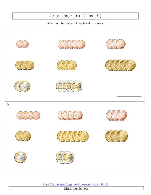 The Counting Small Collections of Euro Coins Sorted Version (E) Math Worksheet