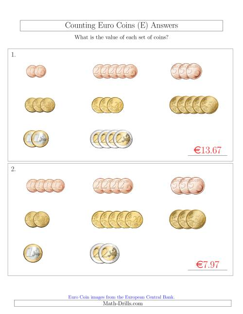 The Counting Small Collections of Euro Coins Sorted Version (E) Math Worksheet Page 2