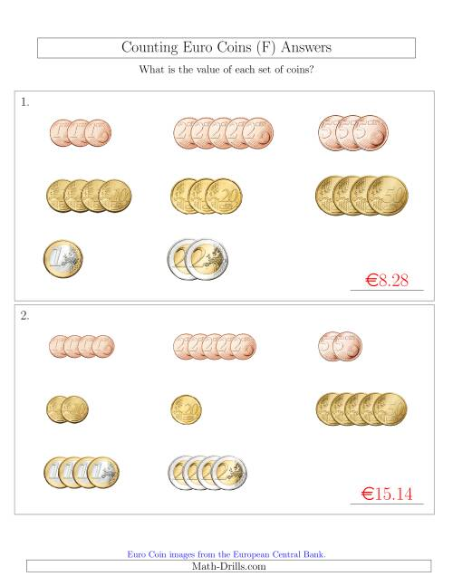The Counting Small Collections of Euro Coins Sorted Version (F) Math Worksheet Page 2