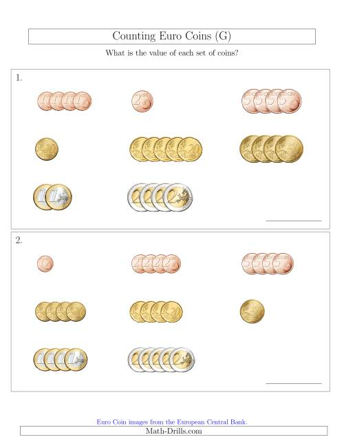 The Counting Small Collections of Euro Coins Sorted Version (G) Math Worksheet