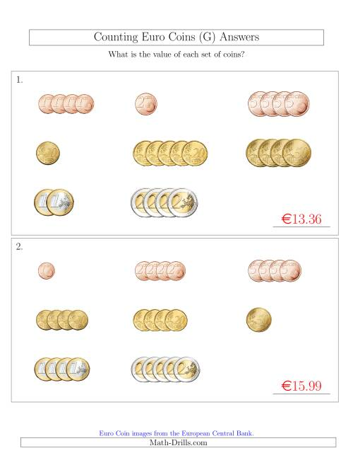 The Counting Small Collections of Euro Coins Sorted Version (G) Math Worksheet Page 2