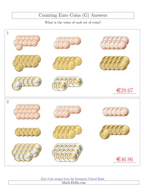 The Counting Euro Coins Sorted Version (G) Math Worksheet Page 2