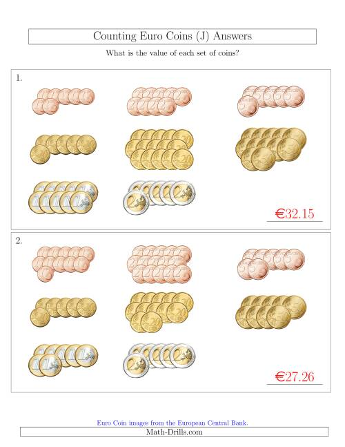The Counting Euro Coins Sorted Version (J) Math Worksheet Page 2