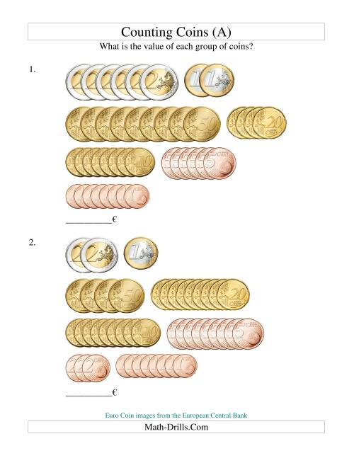 The Counting Euro Coins Sorted Version (Old) Math Worksheet
