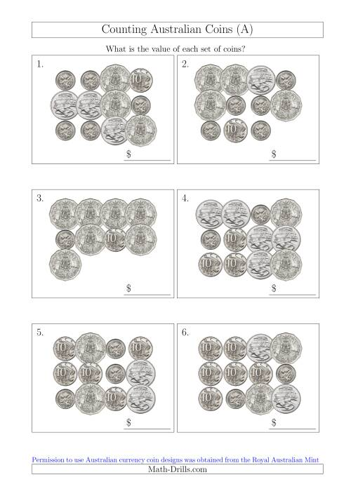 The Counting Australian Coins Without Dollar Coins (A) Math Worksheet