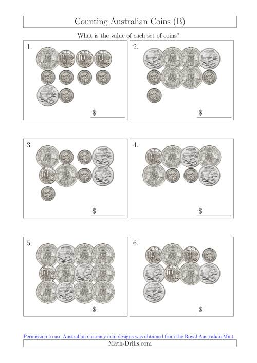 The Counting Australian Coins Without Dollar Coins (B) Math Worksheet