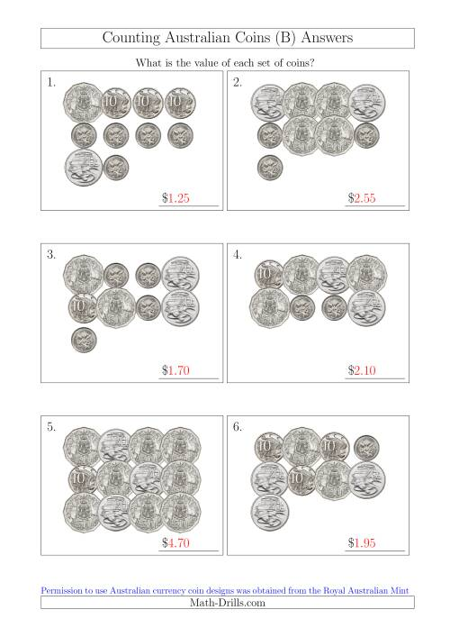 The Counting Australian Coins Without Dollar Coins (B) Math Worksheet Page 2