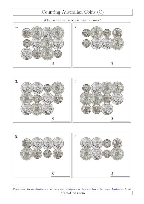 The Counting Australian Coins Without Dollar Coins (C) Math Worksheet