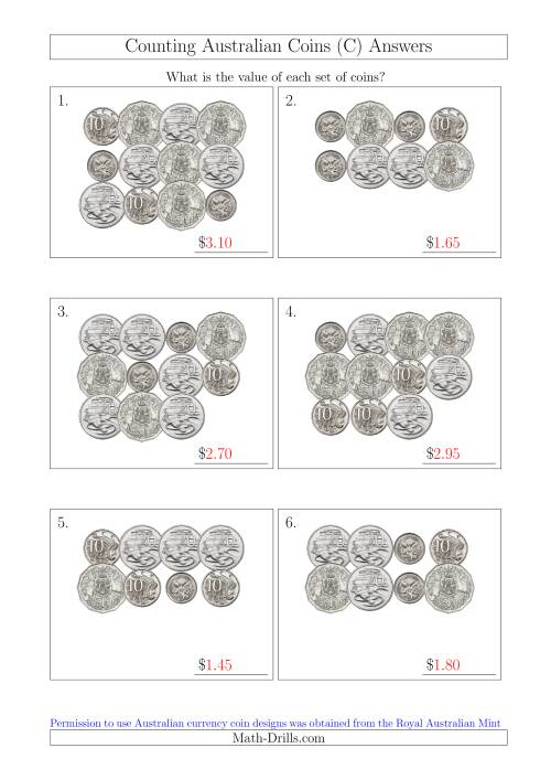 The Counting Australian Coins Without Dollar Coins (C) Math Worksheet Page 2