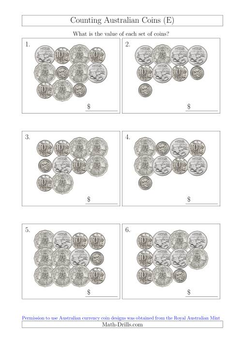 The Counting Australian Coins Without Dollar Coins (E) Math Worksheet