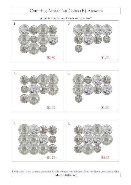 The Counting Australian Coins Without Dollar Coins (E) Math Worksheet Page 2