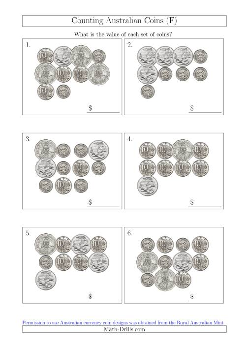 The Counting Australian Coins Without Dollar Coins (F) Math Worksheet
