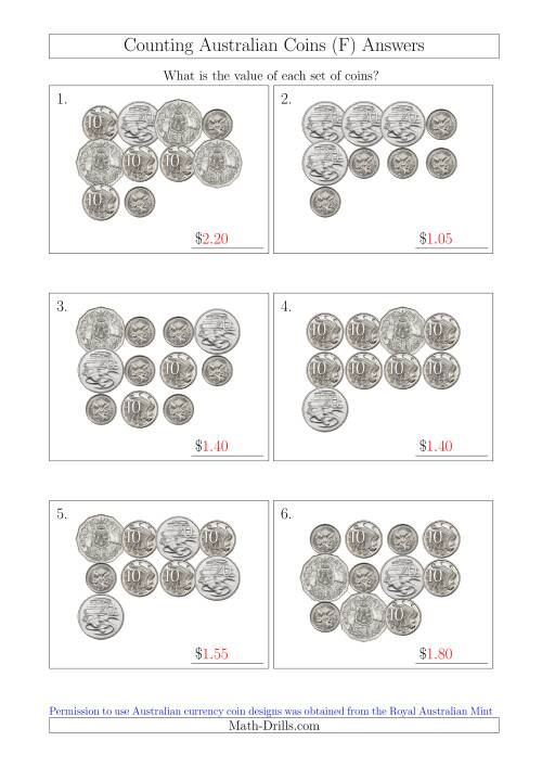 The Counting Australian Coins Without Dollar Coins (F) Math Worksheet Page 2