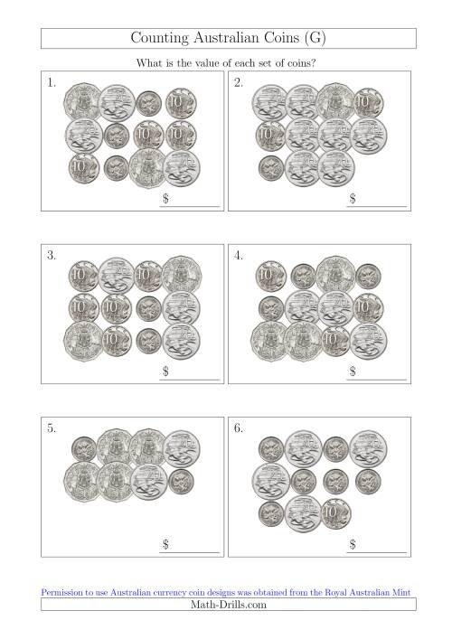 The Counting Australian Coins Without Dollar Coins (G) Math Worksheet
