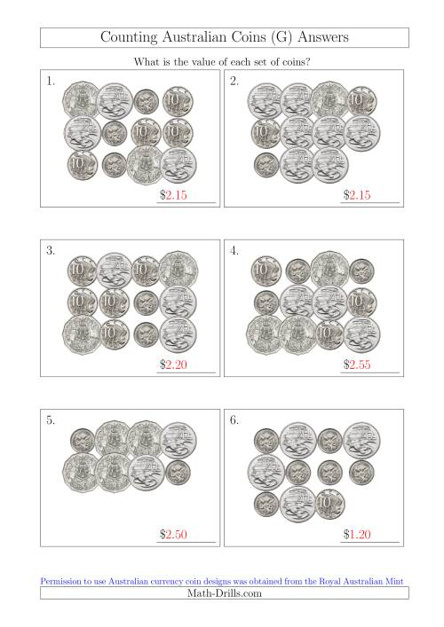 The Counting Australian Coins Without Dollar Coins (G) Math Worksheet Page 2