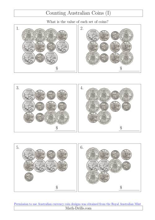 The Counting Australian Coins Without Dollar Coins (I) Math Worksheet