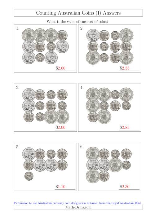 The Counting Australian Coins Without Dollar Coins (I) Math Worksheet Page 2