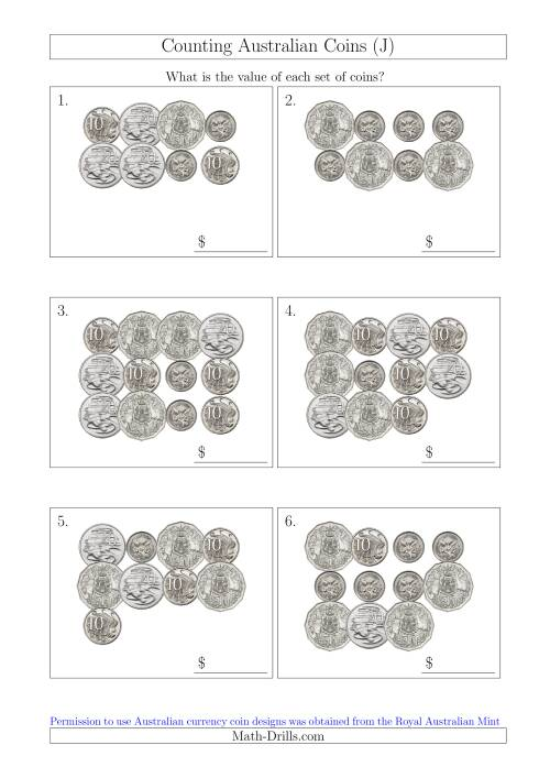 The Counting Australian Coins Without Dollar Coins (J) Math Worksheet