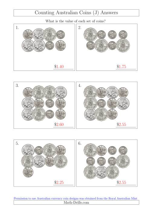 The Counting Australian Coins Without Dollar Coins (J) Math Worksheet Page 2