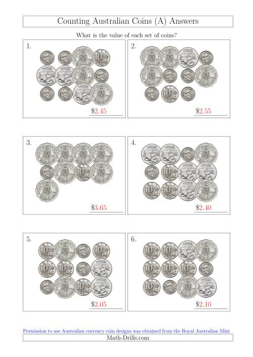 The Counting Australian Coins Without Dollar Coins (All) Math Worksheet Page 2