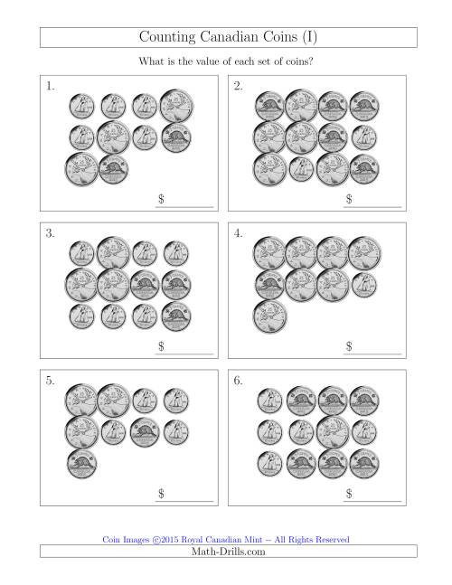 The Counting Canadian Coins Without Dollar Coins (I) Math Worksheet
