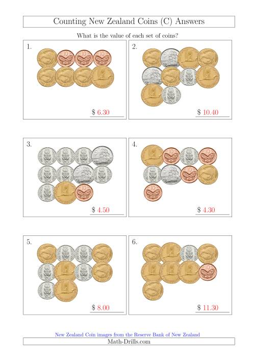 The Counting New Zealand Coins (C) Math Worksheet Page 2
