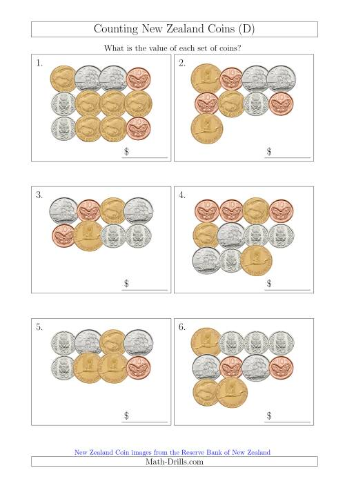 The Counting New Zealand Coins (D) Math Worksheet